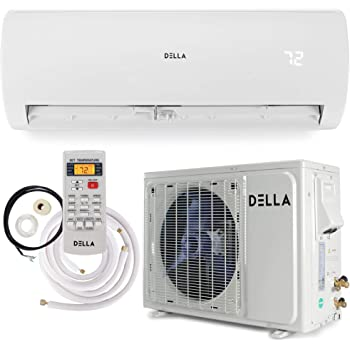 Della 12000 BTU Mini Split Air Conditioner Ductless Inverter System 22 SEER 208-230V with 1 Ton Heat Pump, Pre-Charged Condenser and Full Installation Accessories Kit AHRI