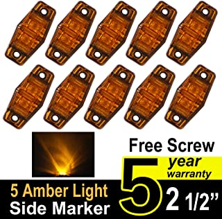 TMH 2.5-Inch Amber Surface Mount Flux Side Red LED Marker Light and Lens for Trucks, 10 Pieces