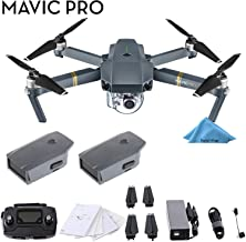 DJI Mavic Pro 4K Quadcopter with Remote Controller, 2 Batteries, with 1-Year Warranty - Gray