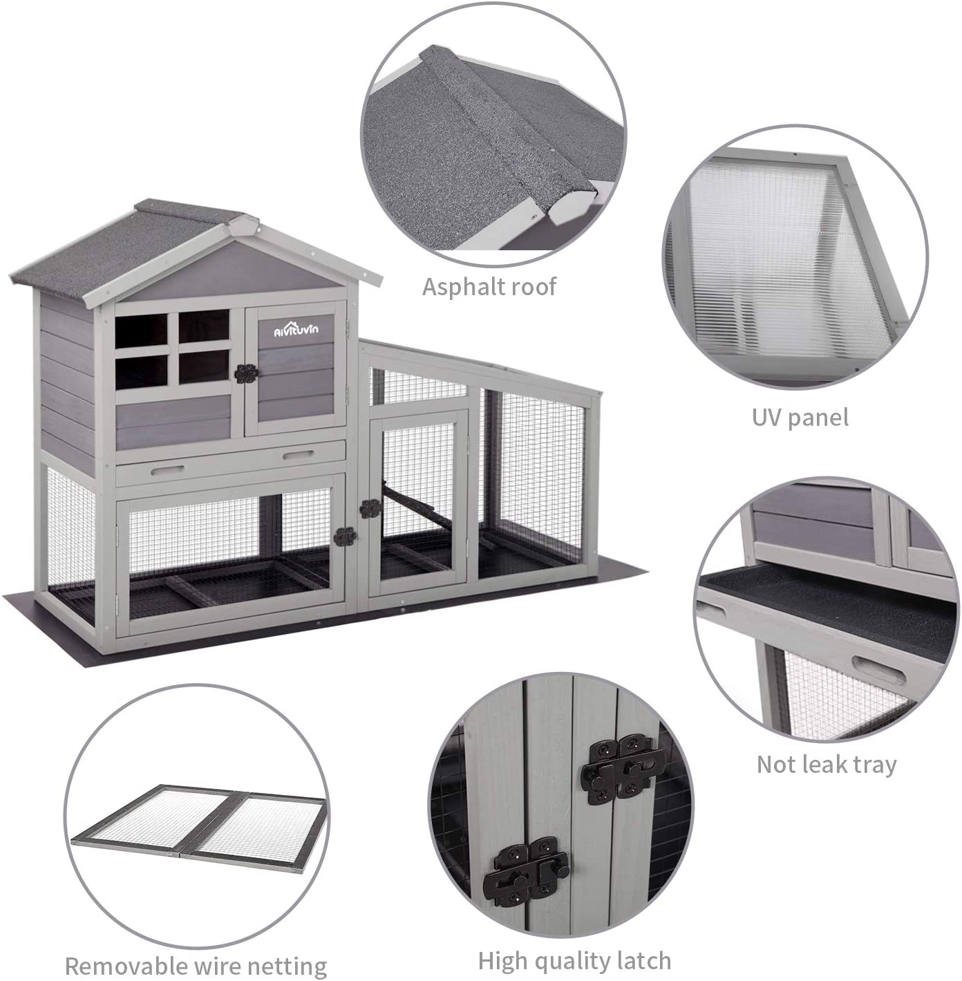 18+ Aivituvin Rabbit Hutch Indoor and Outdoor,Rabbit cage with Deeper No  LeakageTray, Bunny Cage with Removable Bottom Wire Mesh & PVC Layer,  Upgrade ... Bilder