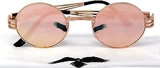Black Raven Sunglasses for Men and Women UV400 Steampunk Vintage Retro Mirrored Reflective Metal