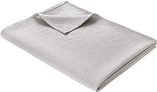 tagesdecke baumwolle WOHNWOHL Baumwolldecke 150 x 200 cm • Waffelpique leichte Kuscheldecke aus 100% Baumwolle • Luftige Sofa-Decke vielseitig einsetzbar • Pflegeleichte Wohndecke • Farbe: Hellgrau