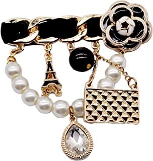 Crystal Charms Tower Handbag Enamel 5 Letter Brooches for Women Catwalk Cute Pearl Camellia Badge Brooch Pins Brand Jewelry