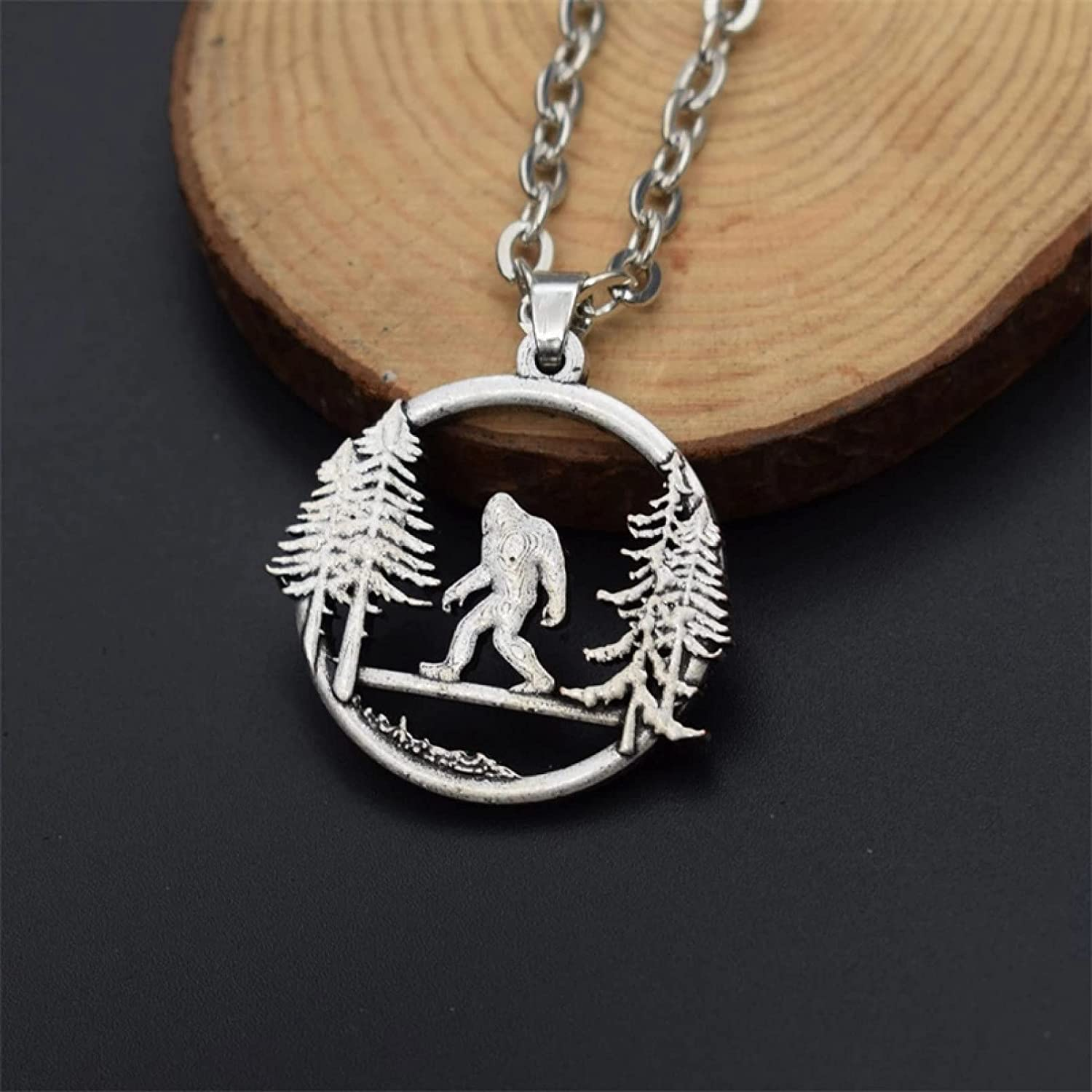 WDBUN Necklace Pendant Bigfoot Necklace Bigfoot in The Pine Tree Mountain Outdoor Adventure Jewelry Christmas Mother's Day Valentine's Day Birthday Gift