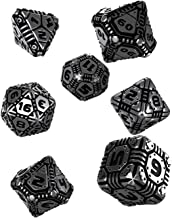 Q WORKSHOP Metal Tech Dice Set 7 Polyhedral RPG OrnamentedPieces