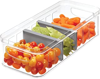iDesign Crisp Plastic Refrigerator and Pantry Large Divided Bin with Handles, Modular Stacking Food Storage Box for Freezer, Fridge, Office, Cabinet, Bathroom, BPA Free, Clear and Gray