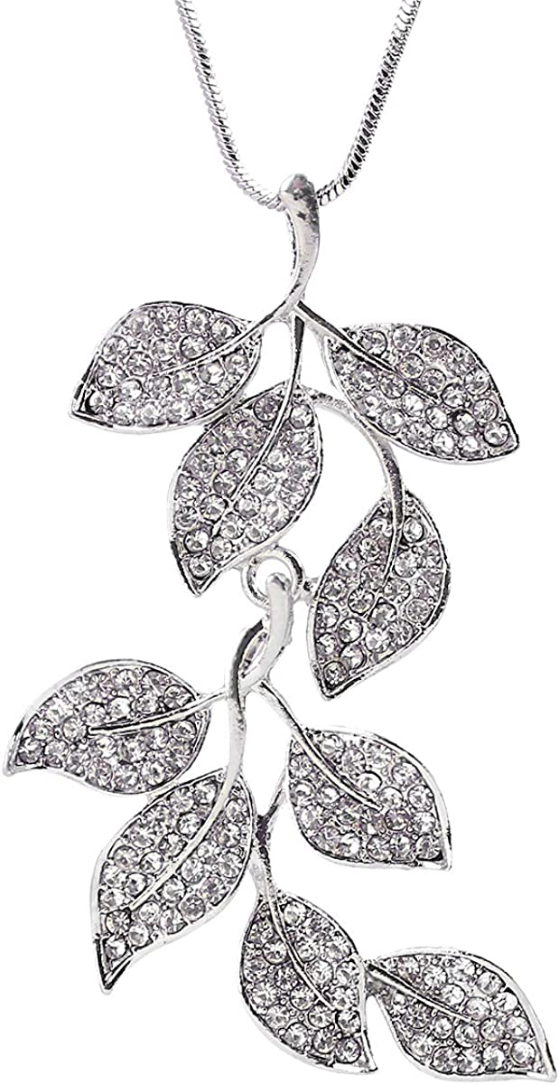 Merdia Long Chain Necklace for Women Twig and Leaves Pendant Sweater Necklace
