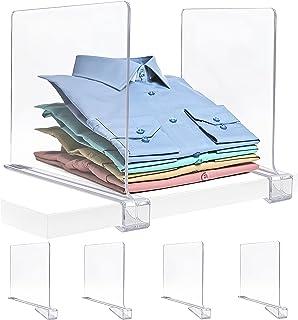 Hezly Séparateurs d'étagères (lot de 4), Séparateur Etagère Acrylique, Séparateur Armoire et Organiseur de Placards, Organ...