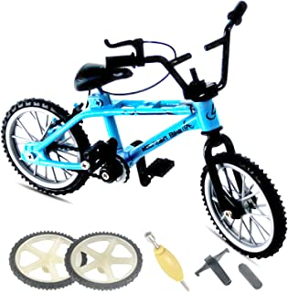 helegeSONG Miniature Finger Bicycle Playset Mini Bike Toy with 2PCS Spare Tyre and 3PCS Tool Mini Extreme Sport Finger Bike Toy Collectible Toy for Kids Home Desktop Ornament Black