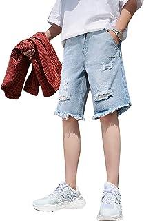 Pantalones Cortos de Mezclilla para Hombre Pantalones Cortos de Cinco Puntos Rasgados Casuales de Color sólido de Verano T...