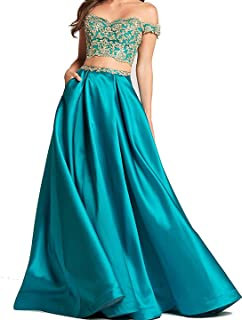 Two Piece Gold Lace Applique Prom Dresses 2018 Off The Shoulder Party Ball Gown BD450