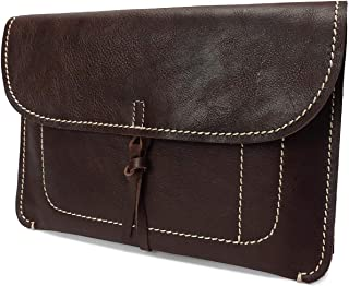 Womens Leather Clutch Bag Small Wrist Pouch Organiser A5 Size Case H8063 Brown