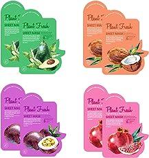 8 Mascarillas Faciales Sheet, Extracto Natural de Fruta, Aditivos Free (Pack 8)