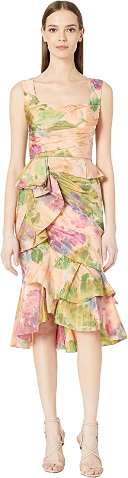 Draped Printed Taffeta Cocktail Dress with Peplum and Cascading Ruffle