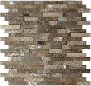Inoxia Speedtiles 3579844 Bengal Brown 11.77 In. X 11.57 In. X 8 Mm Stone Self-Adhesive Wall Mosaic Tile (11.4 Sq. Ft. / Case)