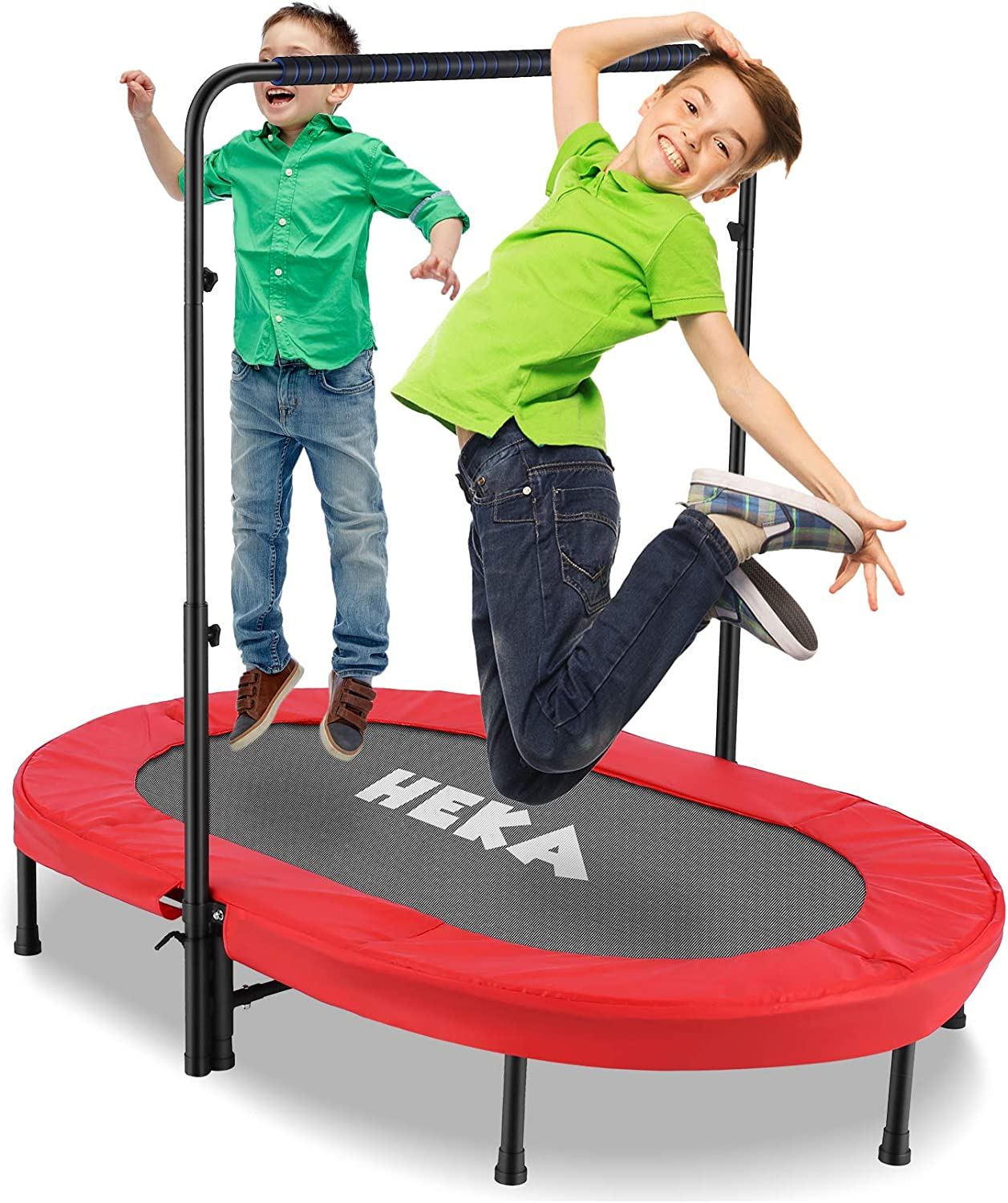 Trampoline for 2 Kids and Adults with Adjustable Handle, Foldabl