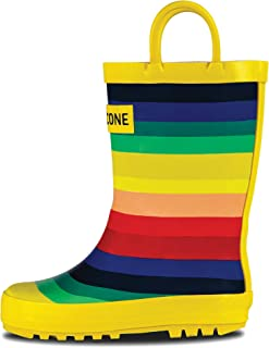 Rain Boots with Easy-On Handles in Fun Patterns & Solid Colors for Toddlers and Kids