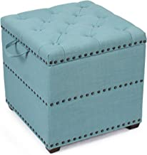 Adeco Eruo Style Fabric Arm Bench Ottoman Chair Footstool Cubic, Wood Legs, lid Storage, Nailhead Trim