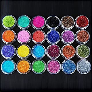 XICHEN 24 Colors Nail Art Make Up Glitter Shimmer Dust Powder Decoration