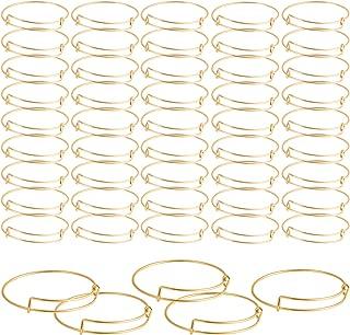 SAYAYA 50 Pieces Expandable Bangle Blank Bangle Bracelets Adjustable Bracelets for Jewelry Making (Gold)
