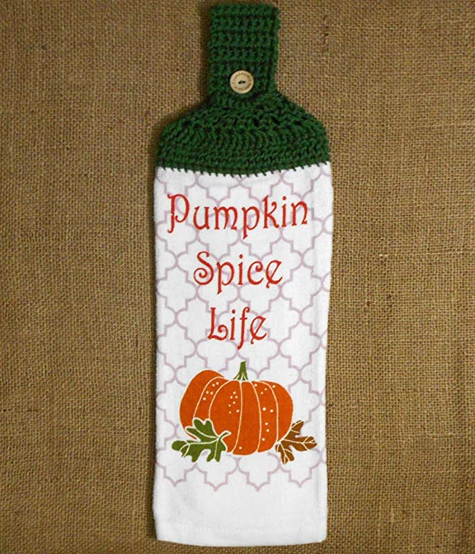 Pumpkin Spice Life Hanging Dish Towel Double Sided With A Crochet Top Fall Kitchen Decor