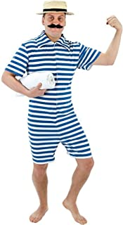 Mens 1920s Red or Blue Bathing Swimming Beach Suit Fancy Dress Costume Outfit