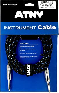 ATNY Braided Electric Guitar Cable – Professional Grade Musical Instrument Amplifier Cord with Nickel-Plated Dual Straight Plugs and Blue Tweed Jacket [15 Feet]