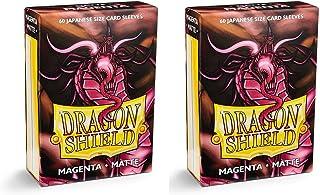 Dragon Shield Bundle: 2 Packs of 60 Count Japanese Size Mini Matte Card Sleeves - Matte Magenta