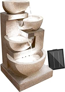 Solar Power Fountain Feature Three-Tier Bird Bath with 3W Outdoor Water Fountains Pump and LED Lights