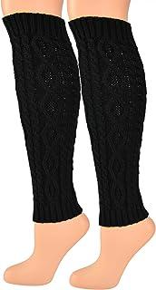 جورب نسائي HOME-X، مدفئات الساق الكروشيه من الأكريليك للنساء، إكسسوار طويل أسود للشتاء بطول 40.64 سم