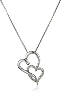 Sterling Silver Diamond Double Heart Pendant Necklace (1/10 cttw), 18