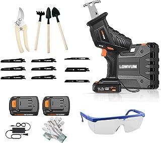 XLOO Mini-elektrisk såg, 10 C/4,0 Ah litiumbatteri (2 stycken), LED-belysning, legeringssågblad (9 stycken), justerbar has...