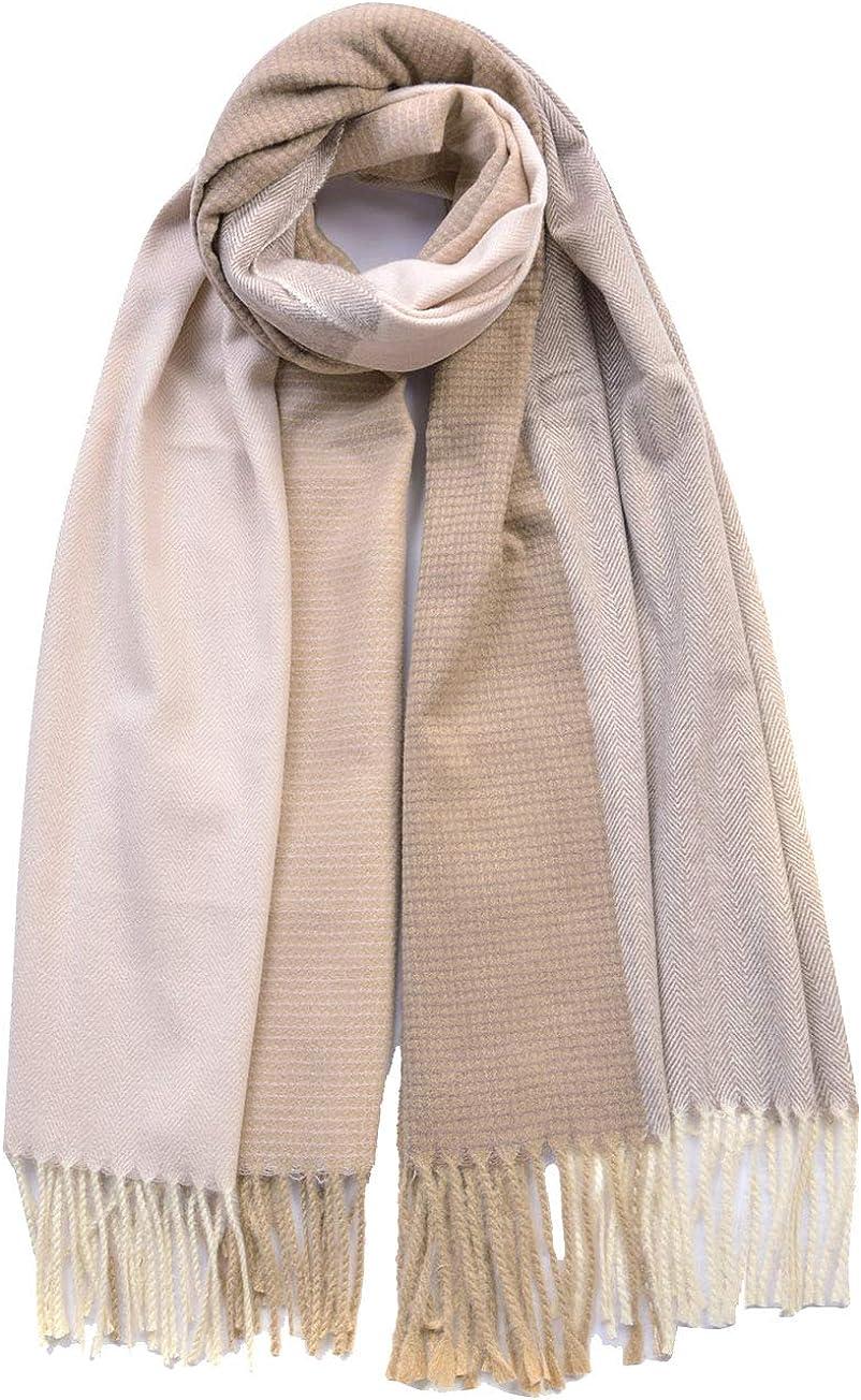 Ladies Womens Italian Lagenlook Herringbone Pattern Cashmere Wool Blend Multiway Shawl Head Neck Winter Scarf