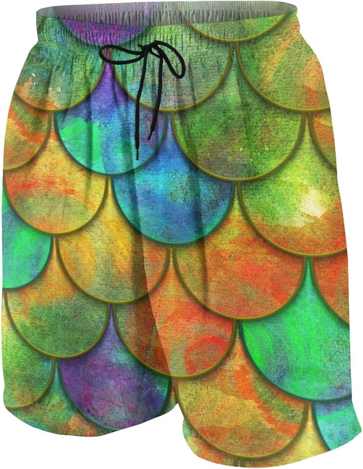 Fish Scales Fish Skin Color Boys Swim Trunks Quick Dry Beach Board Swim Shorts Swimsuit Swimwear from 7T to 18