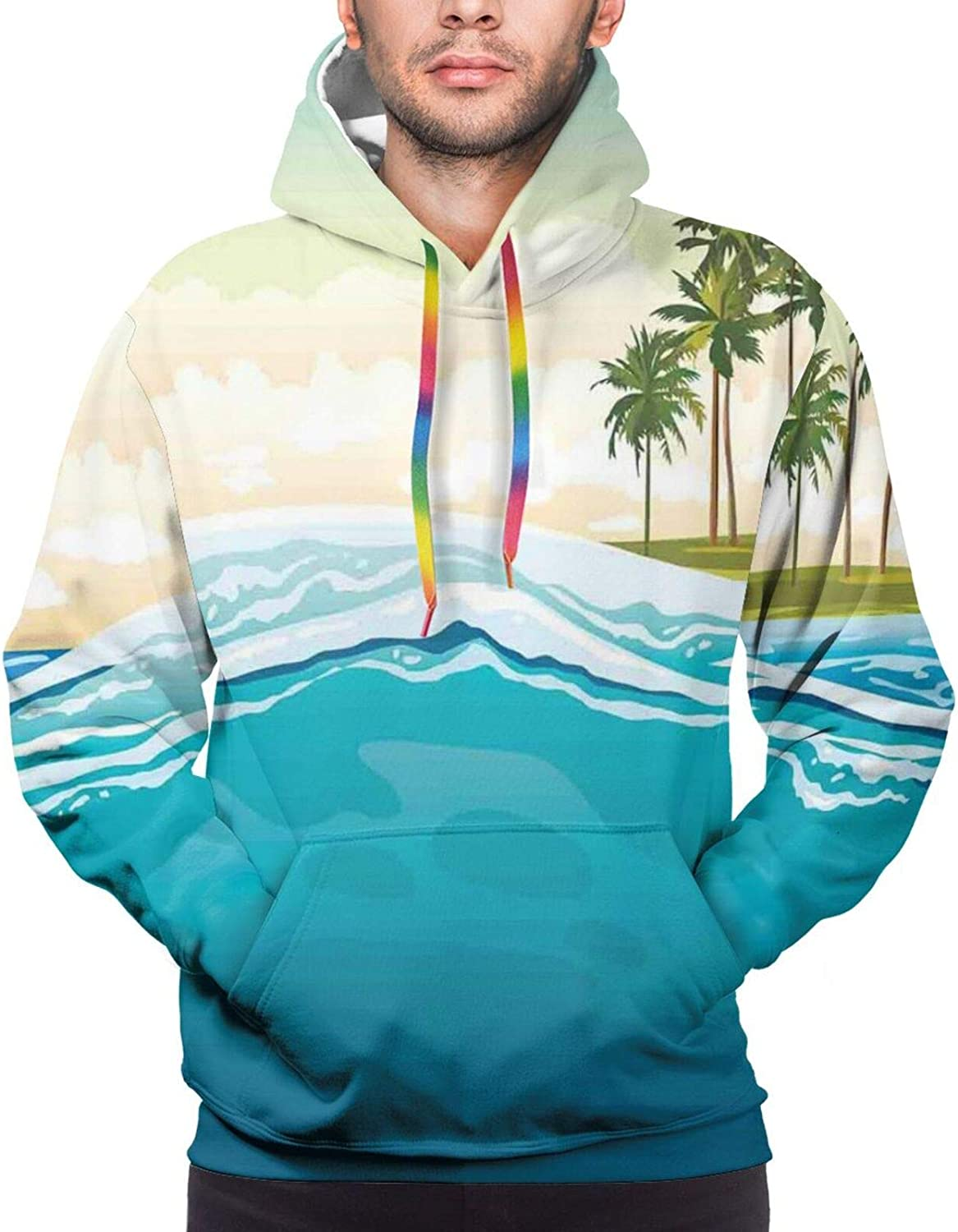 Men's Hoodies Sweatshirts,Coconut Palm Trees On Beach Bend by The Wind Horizon Over The Sea Theme Picture Art