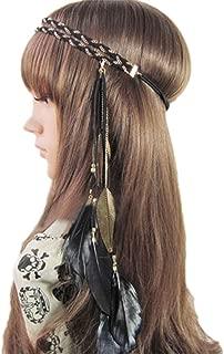 Women Feather Headband Stretchy Braided Leaf Bead Hair Tassels