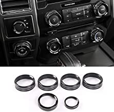 JOIN-WIT for Ford F150 Air Conditioner & Audio & Trailer & 4WD Switch Knob Ring Button Cover Trim for XLT 2016 2017 (6pcs, Black)