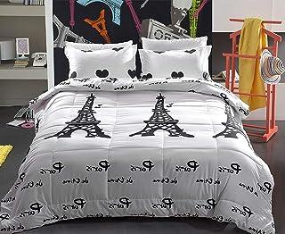 UNIHOME Paris Night Eiffel Tower Scene Reactive Dyeing Polyester Fiber Bedding Sets Queen Size Duvet Cover Set