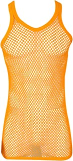 Mens 100% Cotton Fitted Muscle Fishnet String Vest Tank Top Mesh