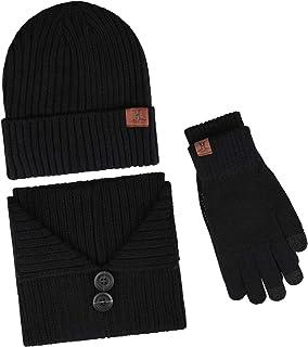 2 Sets Homme Hommes Thermal Chapeau Et Gants Chaud Hiver Cadeau UK