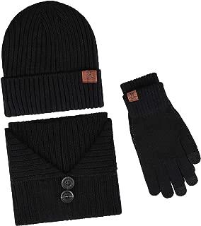 Men's Winter Beanie Hat & Button Scarf & Touchscreen Gloves 3 Pieces Warm Knitted Set for Men