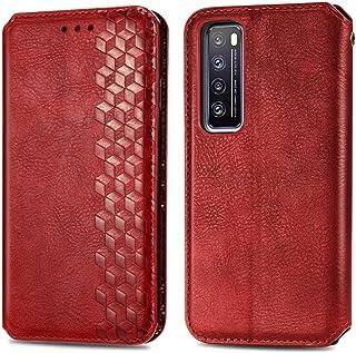 電話のレザーケース Huawei Nova 7立方グリッドプレス水平フリップ磁気PUレザーケースホルダー&カードスロット&財布 (Color : Red)