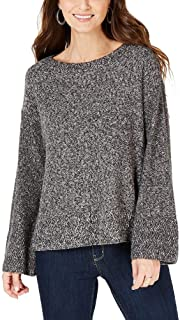 Style & Co | Flare-Sleeve Contrast-Border Sweater | Grey/White