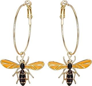 Women's Fashion Trendy Enamel Honey Bee Hoop Dangle Earrings