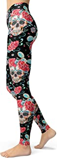 Women's Sugar Skull Printed Leggings Christmas Brushed Buttery Soft Ankle Length Tights