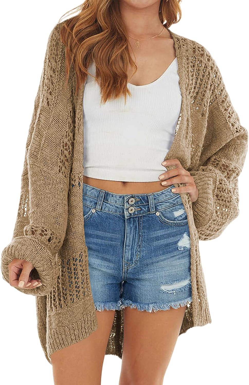 Ivay Womens Open Front Oversized Lightweight Cardigan Kimono Crochet Knit Boho Fall Sweater Cardigans