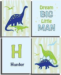 Dinosaur Wall Art Kids Bedroom Décor Blue Green Personalized Nursery Name Letter (Set of 4) UNFRAMED Prints 8 x 10 inch