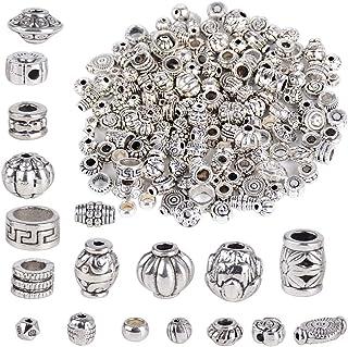 JNCH 100g Perles Intercalaires Argent Rondes Antique Tibetains Perles Espaces Separateur Rondelle en Métal Perles d'Espace...