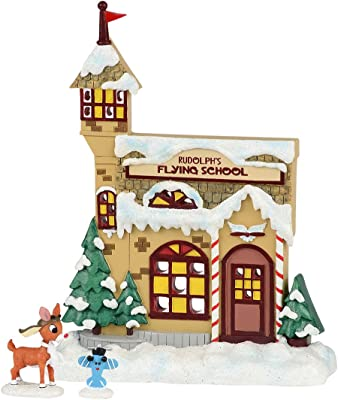 Department 56 Rudolph The Red-Nosed Reindeer Flying School Figurine, 7.28 inch