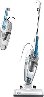 Black & Decker Stick Vacuum Cleaner Powerful Suction 3-in-1 Small Handheld Vac with HEPA Filters for Hard Floor Lightweight Upright Home Pet Hair, BDST1609, White with Aqua Blue